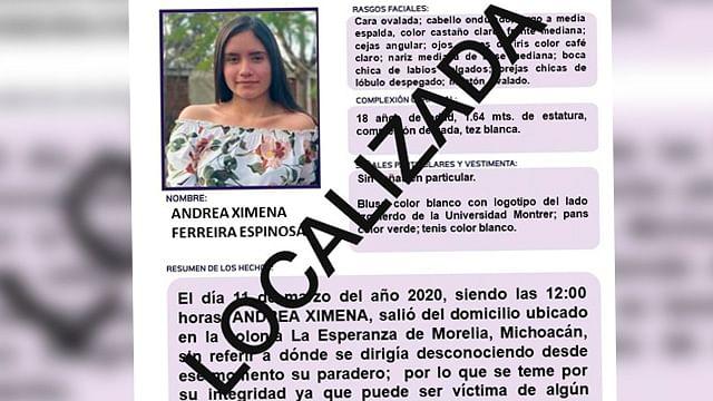 Localizan sana y salva a Andrea Ximena, en Morelia