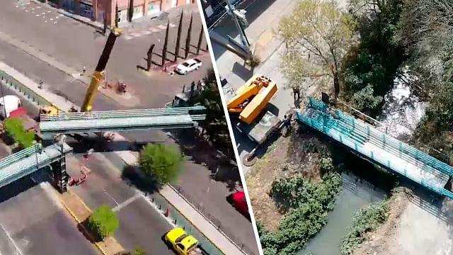 Optimizan recursos y reubican secciones en Morelia de puente peatonal
