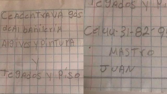 Viralizan publicidad escrita a mano de hombre que busca trabajo, en Morelia
