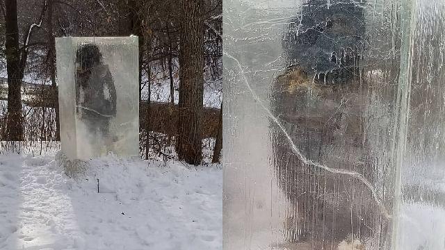 Aparece cavernícola dentro de un cubo de hielo en un bosque de EU