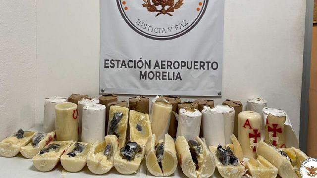 Morelia: decomisan más de 2 mdp en droga que era transportada en cirios