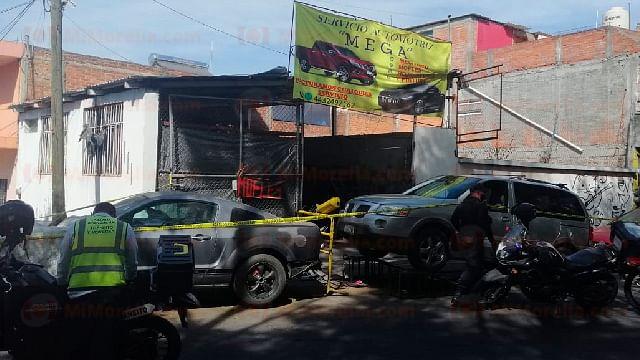 A balazos, hombre es asesinado en taller automotriz de Morelia