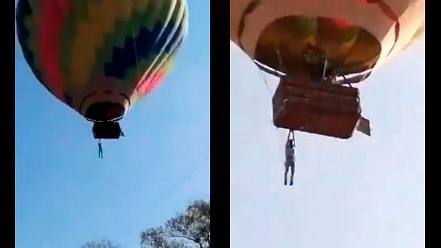 ¡De terror! Hombres quedan colgados en globo aerostático en Teotihuacán