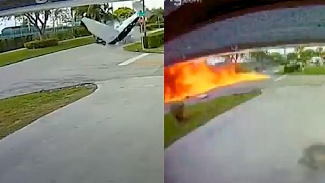Avioneta se estrella contra auto; hay tres muertos [Video]