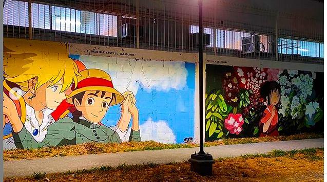 ¿En qué parte están? Murales de películas de los Studio Ghibli encantan las redes