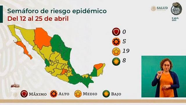 Semáforo epidémico: suman ocho estados en color verde