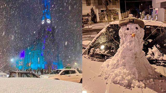 ¡Hecho histórico! Por bajas temperaturas nieva en Brasil