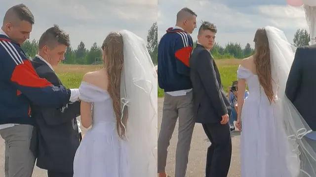 Novio llega a su boda cayéndose de borracho y le dan el sí