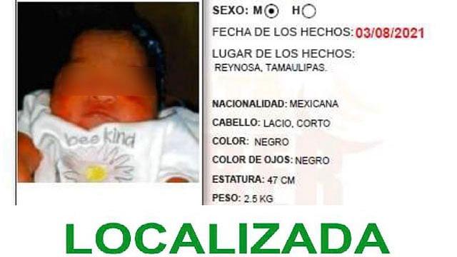Localizan a bebé que fue robada en Tamaulipas; hay detenidos