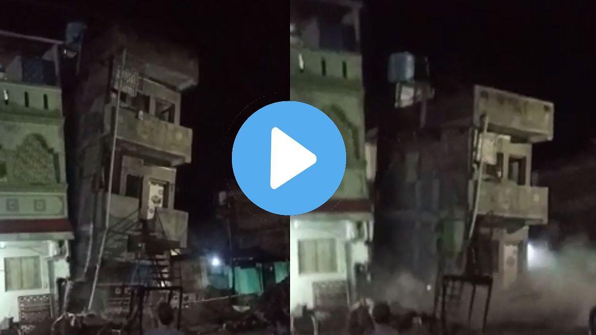 बघता बघता तीन मजली इमारत कोसळली; व्हिडीओ झाला व्हायरल