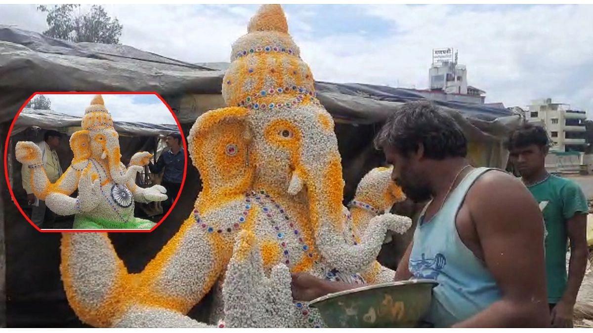 Ganeshotsav 2021 : अवलिया कलाकार! साबुदाण्यापासून साकारला 'विघ्नहर्ता'