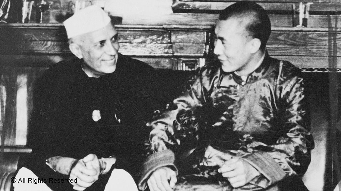 FRIEND IN NEED—Prime Minister Jawaharlal Nehru meets a refugee—the 14th Dalai Lama, Tenzin Gyatso—after the latter's exile from Tibet in 1959
