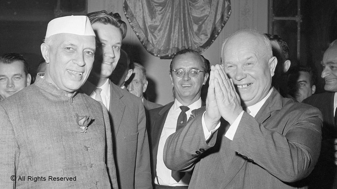 DEEP BONHOMIE—Prime Minister Jawaharlal Nehru with Soviet Premier Nikita Khrushchev in New York in 1960.