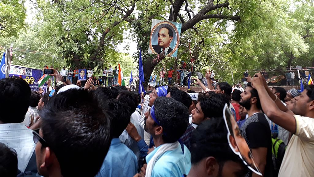 Dalits protest and demand action against RSS backed Manuvadi