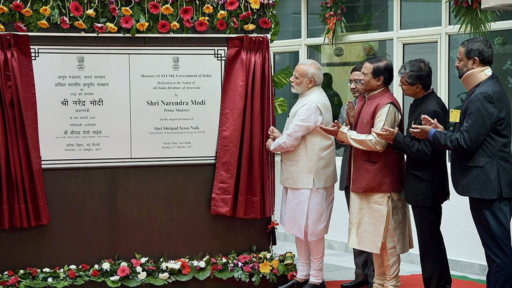 Modi 'inaugurates' All India Institute of Ayurveda 7 years after it was opened
