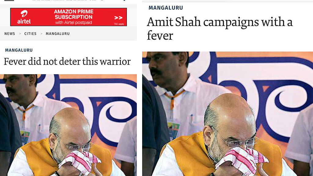 The Hindu edits Amit Shah fever story headline