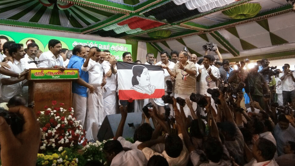 Dhinakaran launches new party AMMK, unveils party flag with Jayalalithaa's image