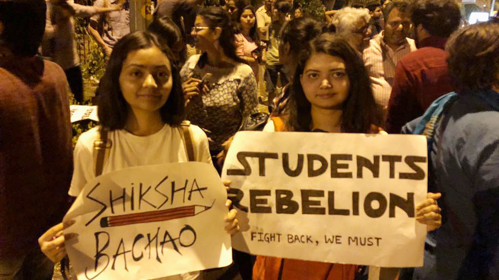 Delhi Police and JNU students trade charges and videos