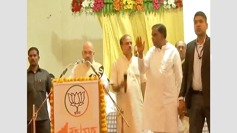 Video: Amit Shah silenced by angry slogans at Mysore election meeting