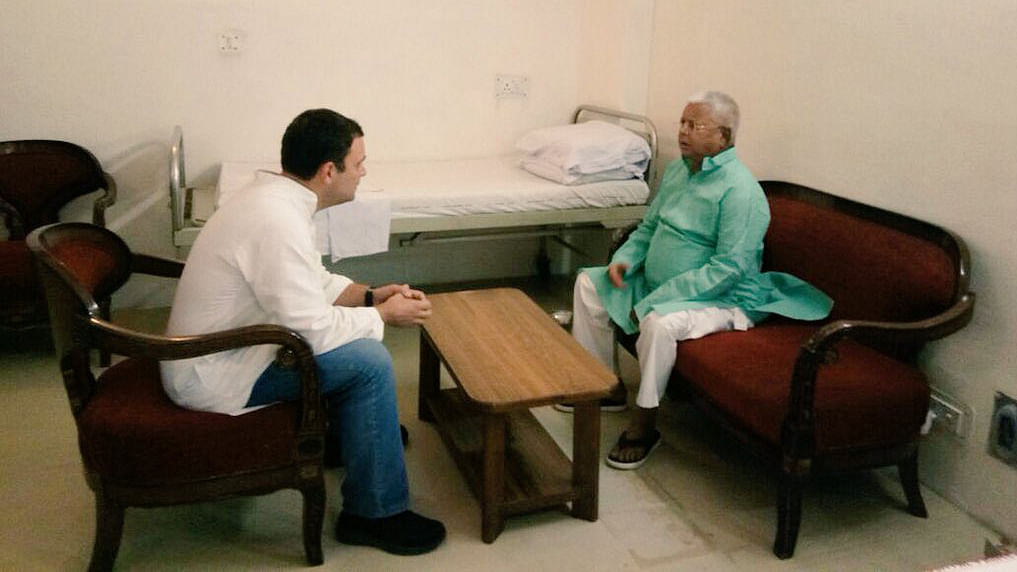 Rahul Gandhi visits Lalu Yadav at his hospital room in AIIMS, Delhi