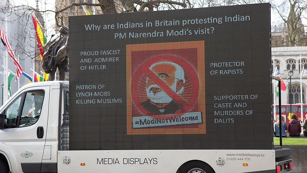 #ModiNotWelcome posters greet the Indian PM on the first day of his UK visit