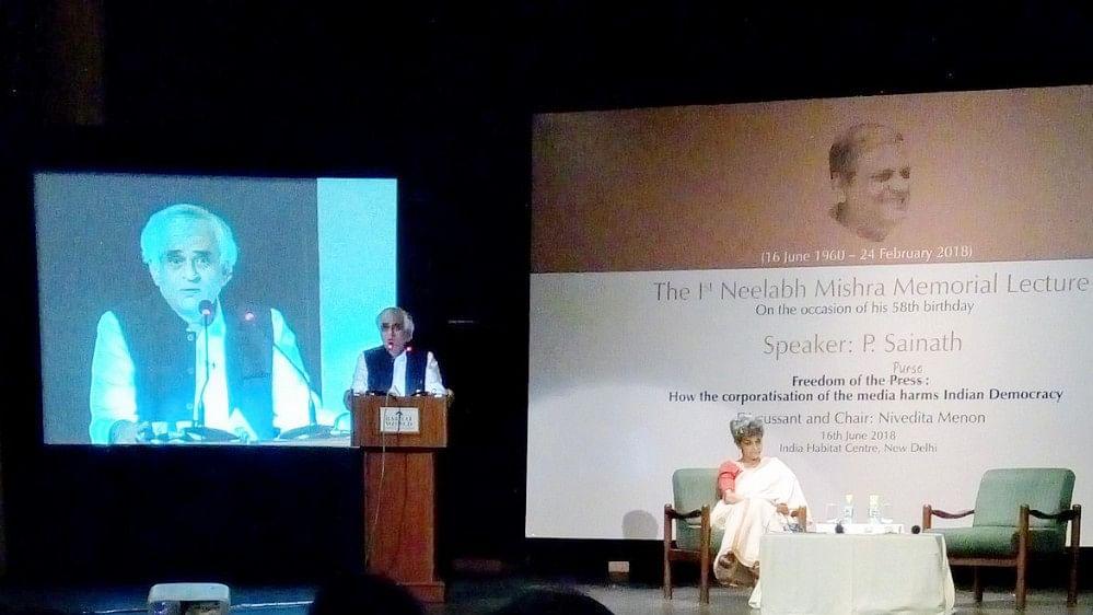 1st Neelabh Mishra Memorial Lecture: P Sainath talks about corporatisation of media