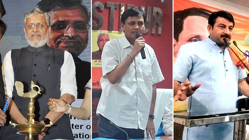 Bihar: Black flags shown to BJP leaders Sushil Modi, Nityanand Rai, Manoj Tiwari