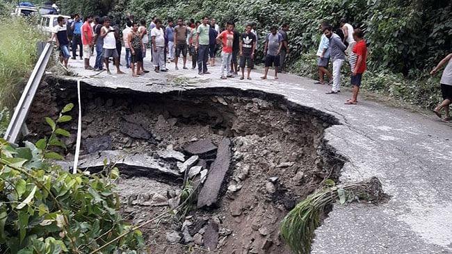 Sikkim: Incessant rain cause landslides, road connectivity snapped