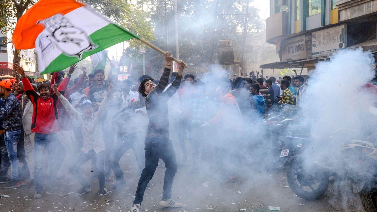 Congress pips BJP in Chhattisgarh, Rajasthan, MP; TRS takes Telangana
