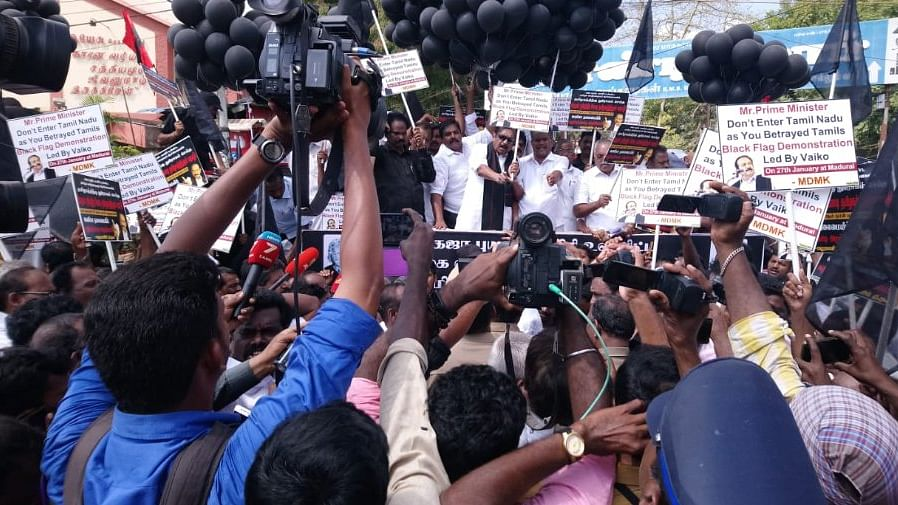 Black-flag protest against PM Modi in Madurai; MDMK leader Vaiko detained