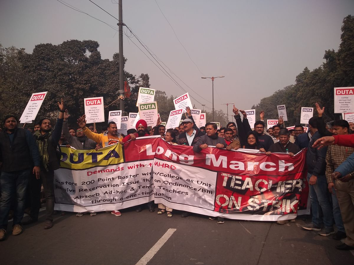 Protesting DU teachers caned, court arrest after march to Parliament Street in support of ad-hoc teachers