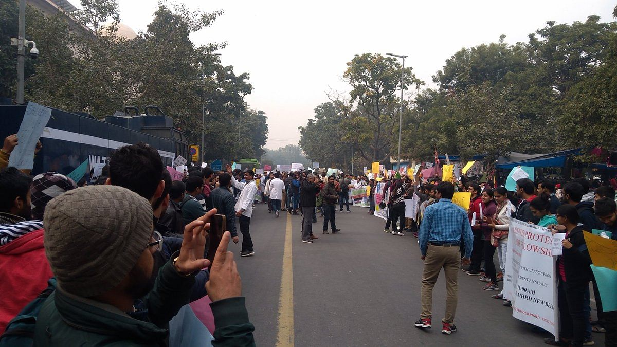Research scholars protest outside HRD Ministry pressing for an increase in fellowship amount