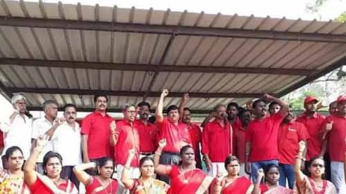 Defence employees on strike against Modi government's policy of privatising defence production
