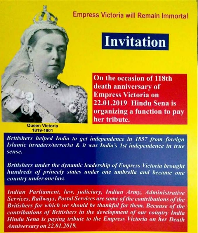 Hindu Sena to observe Queen Victoria's death anniversary by glorifying British rule in India