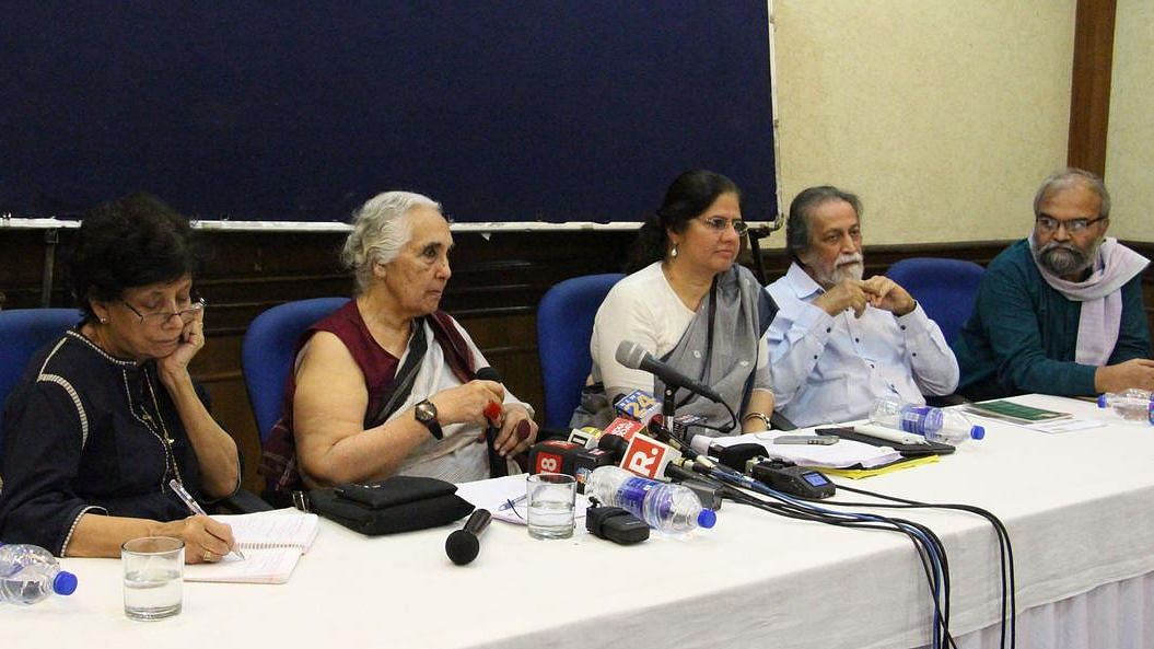 A file photo of the petitioners in the Bhima Koregaon case addressing a press conference