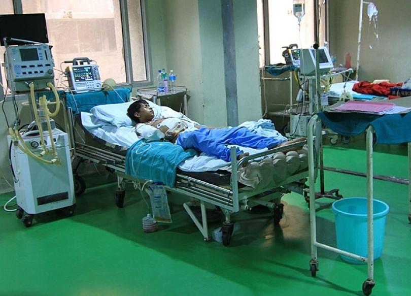 Shahnawaz in ICU ward of GMC Hospital Jammu.