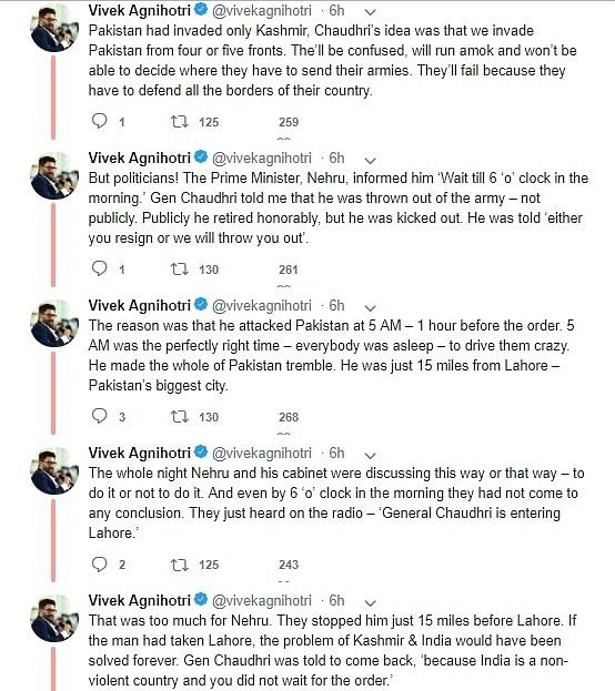 Vivek Agnihotri claims  Nehru remained indecisive during  1965 Indo-Pak war, deletes tweet