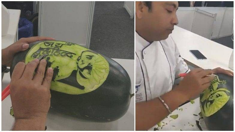 Chef pays tribute to Abhinandan with carved watermelon