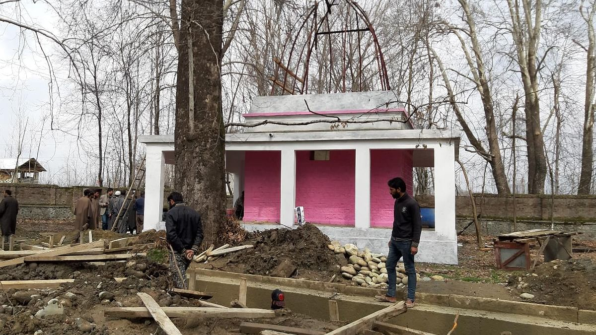 The restoration work is underway at the century old Shiv temple which is about 10 km from Lethpora where Jaish-e-Mohammed claimed suicide bombing had killed over 40 CRPF toppers on February 14