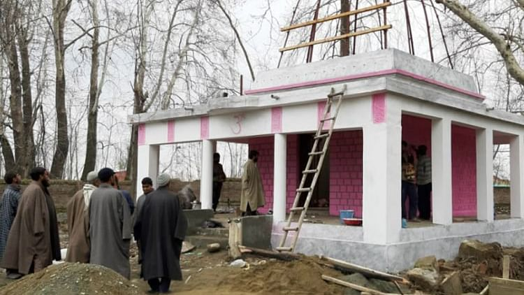 Pulwama: Muslims, Hindus come together to restore 80-year-old temple