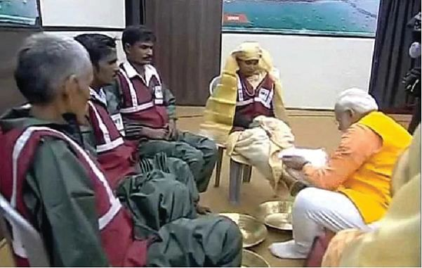 PM Narendra Modi not only took a dip in front of camera crews but also washed the feet of sanitation workers. The media overlooked  the workers' service conditions, long hours and poor wages paid by contractors. Police detained activists who raised their voice