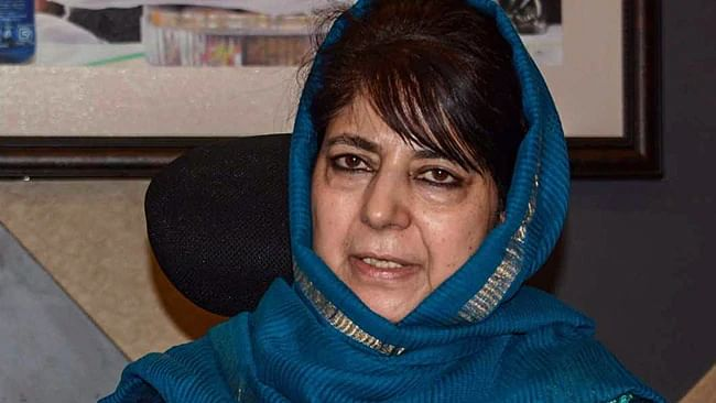 Mehbooba stopped by police  from visiting area in Pulwama