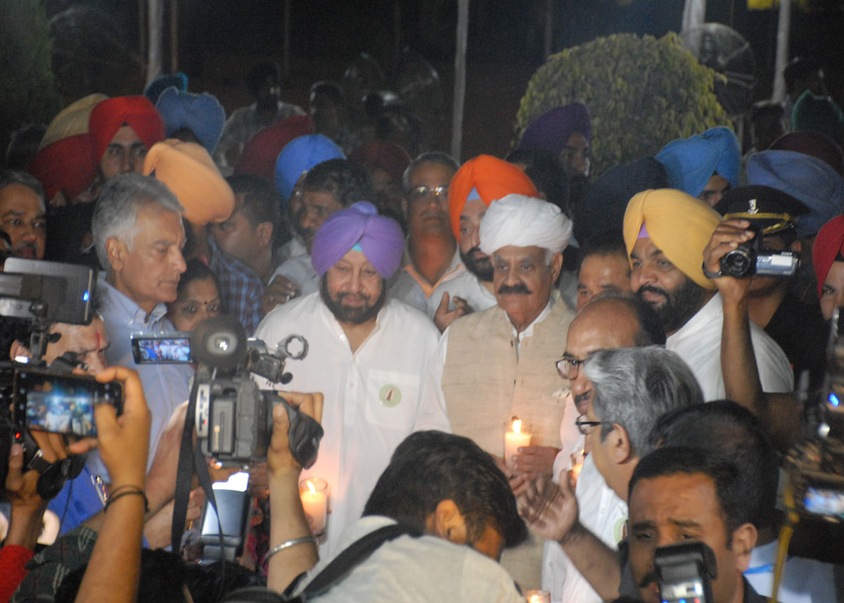 Punjab Chief Minister Capt Amarinder Singh joining the candle march (Photo by Pramod Pushkarna)