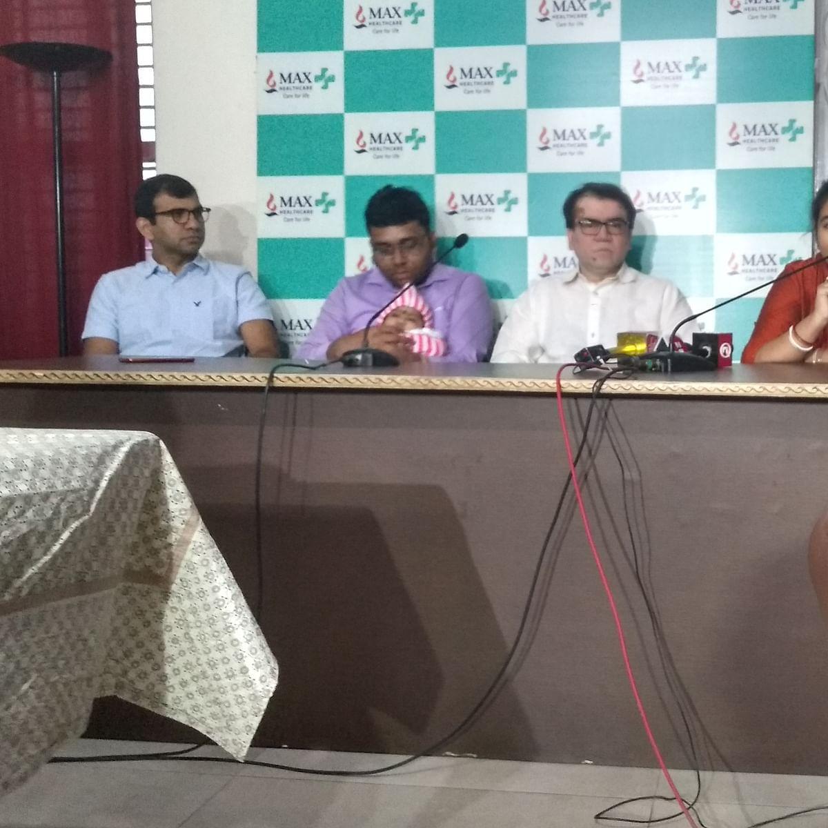 Dr Sharat Varma, Urjit Dey with baby Ariana, Dr (Prof) Subhash Gupta and Shayantani Dey (NH)