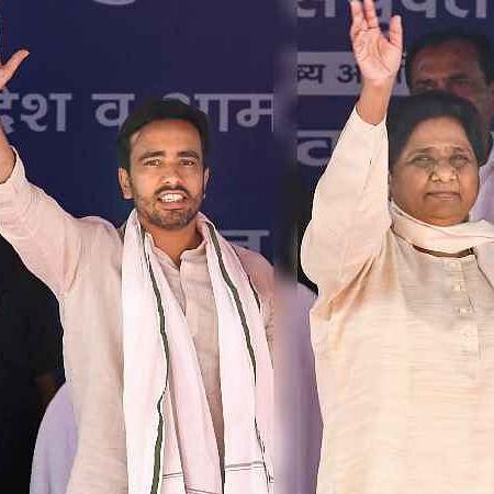 RLD leader Jayant Chaudhary and BSP supremo Mayawati at an election rally in Bulandshahr on April 13