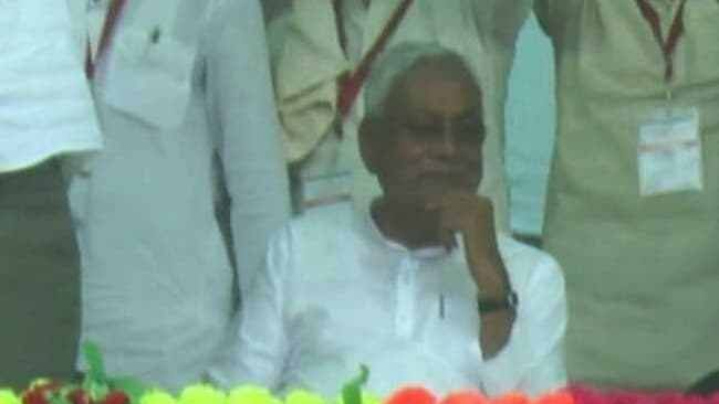 Watch: Bihar CM Nitish sits wearing wry smile as Modi chants 'Vande Mataram'