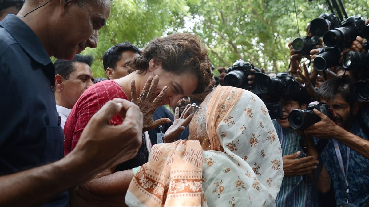 Priyanka hugs her 90-year-old neighbour after voting