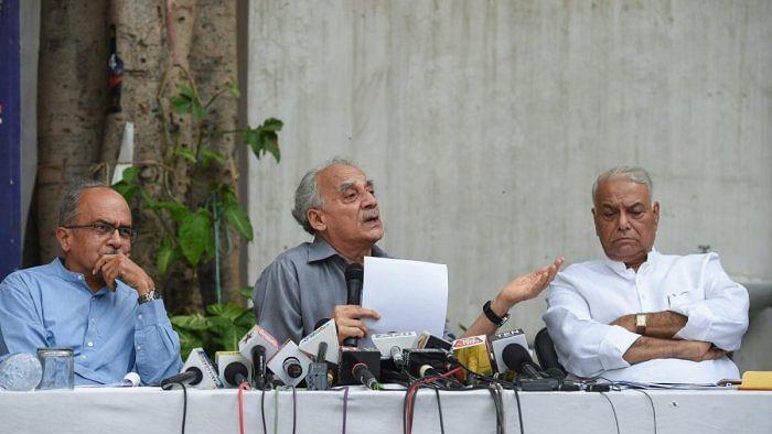 (from left) Prashant Bhushan, Arun Shourie and Yashwant Sinha