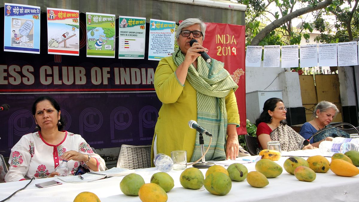 Social activist Shabnam Hashmi addresses a press conference in New Delhi on Monday/NH photo by Vipin