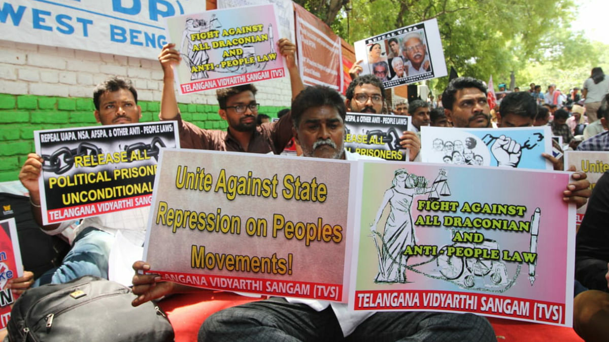 Activists protesting against state repression at Jantar Mantar in New Delhi, June 8.